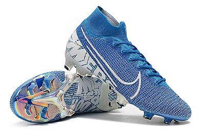 Chuteira Campo Nike Mercurial Superfly 7 Elite FG Azul Bebê e Branco Cano Alto FRETE GRÁTIS