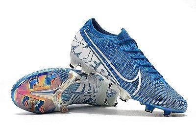 Chuteira Campo Nike Mercurial Vapor 13 Elite FG Azul e Branca FRETE GRÁTIS