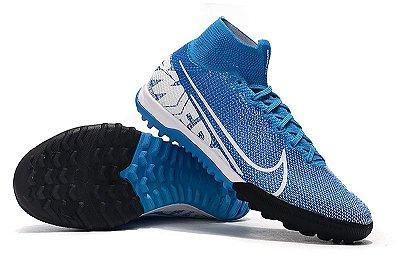 Chuteira Nike Mercurial Superfly 7 Elite TF Society Azul FRETE GRÁTIS