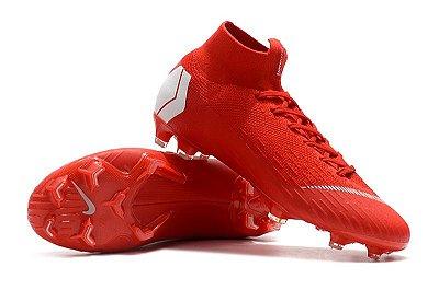Chuteira Nike Campo Mercurial Superfly VI 360 Elite FG Vermelha/Branco