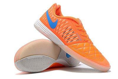 Chuteira Futsal Nike Lunar Gato II IC Laranja/Logo Azul
