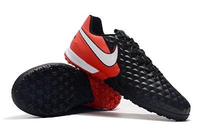 Chuteira Society Nike Tiempo Legend 8 Pro Vermelho/ Preto