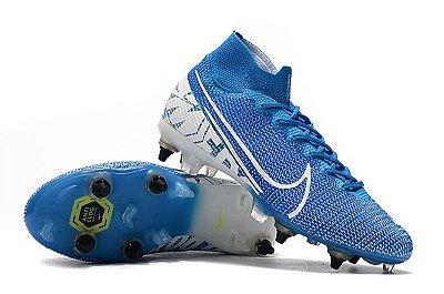 Chuteira Nike Mercurial Superfly 7 Elite SG azul Bebê Trava Mista Cano Alto