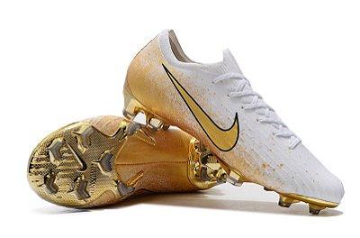 Chuteira Campo Nike Mercurial Vapor Fury VII Elite FG Branca/Dourada FRETE GRÁTIS