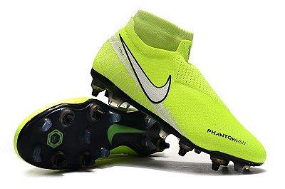 Chuteira Campo Nike Phantom Vision Dynamic Fit Elite Trava Mista Alumínio Verde Florescente (Cano Alto)