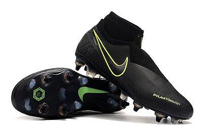 Chuteira Campo Nike Phantom Vision Dynamic Fit Elite Trava Mista Alumínio Preta e Verde (Cano Alto)
