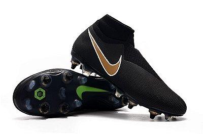 Chuteira Campo Nike Phantom Vision Dynamic Fit Elite Trava Mista Alumínio Preta e Dourado (Cano Alto)