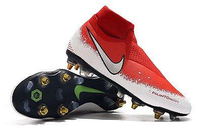 """Chuteira Campo Nike Phantom Vision """"Euphoria Pack""""  Elite Trava Mista Alumínio Vermelha e Branco (Cano Alto)"""
