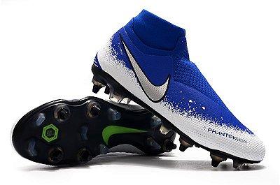 """Chuteira Campo Nike Phantom Vision """"Euphoria Pack""""  Elite Trava Mista Alumínio Azul e Branco (Cano Alto)"""