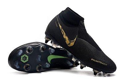 Chuteira Campo Nike Phantom Vision Elite Trava Mista Alumínio Onça Black (Cano Alto)