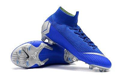 Chuteira Campo Nike Mercurial Superfly VI 360 Elite FG Azul