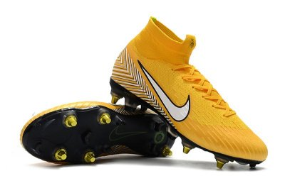 Chuteira Nike Mercurial Superfly VI 360 Elite Neymar Junior FG Trava Mista Alumínio Amarelo (Cano Alto)