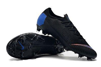 Chuteira Campo Nike Mercurial Vapor Fury VII Elite FG Preta e Azul FRETE GRÁTIS