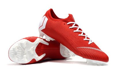 Chuteira Campo Nike Mercurial Vapor XII Elite FG Vermelha e Branco FRETE GRÁTIS