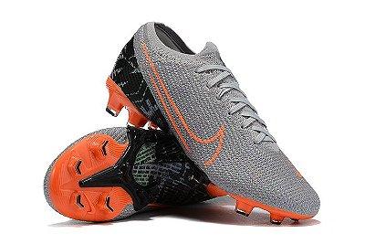 Chuteira Campo Nike Mercurial Vapor 13 Elite FG Cinza e Laranja