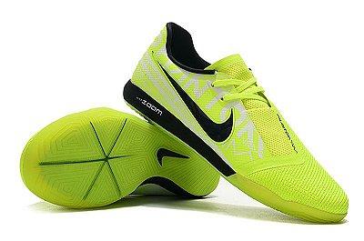 Chuteira Futsal Nike Zoom Phantom VNM Pro IC Verde Flourescente e Preto FRETE GRÁTIS