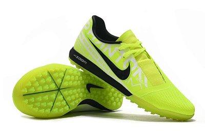 Chuteira Society Nike Zoom Phantom VNM Pro IC Verde Florescente e Preto FRETE GRÁTIS