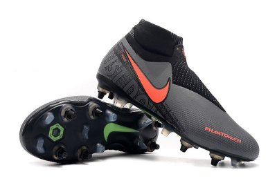 Chuteira Campo Nike Phantom Vision Dynamic Fit Elite Trava Mista Alumínio Cinza e Laranja (Cano Alto)