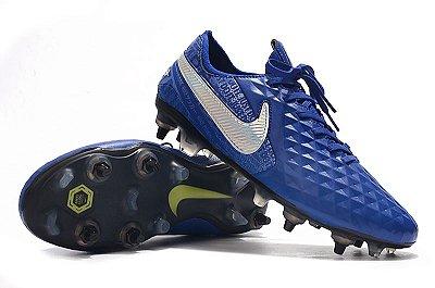Chuteira Campo Nike Tiempo Legend 8 Elite SG  PRO AC Azul Trava Mista