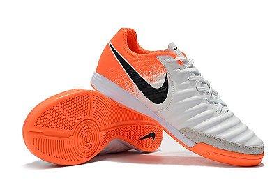 """Chuteira Futsal Nike Tiempo Ligera IV IC """"Euphoria Pack"""" Branca e Laranja FRETE GRÁTIS"""
