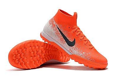 "Chuteira Nike Mercurial SuperflyX 6 ""Euphoria Pack"" Elite TF Society Laranja e Branca"