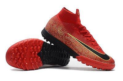 Chuteira Nike Mercurial SuperflyX 6 Dragon Elite TF Society  Vermelha FRETE GRÁTIS
