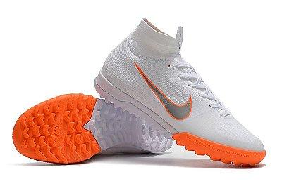 Chuteira Nike Mercurial SuperflyX 6 Elite TF Society Branca e Laranja FRETE GRÁTIS