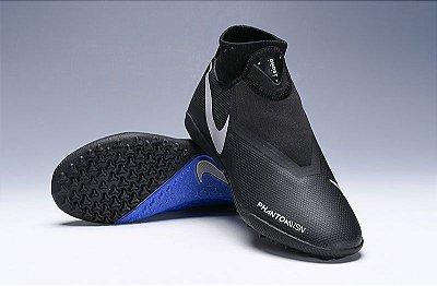 Chuteira Nike Phantom Vision Elite Society Cano Alto Preta e Azul FRETE GRÁTIS