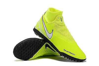 Chuteira Nike Phantom Vision Elite Society Cano Alto Verde Florescente