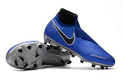 Chuteira Campo Nike Phantom VSN Elite Azul e Cinza (Cano Alto) FRETE GRÁTIS