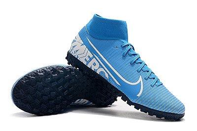 Chuteira Nike Mercurial Superfly VII Club TF Society Azul Bebê Cano Alto FRETE GRÁTIS