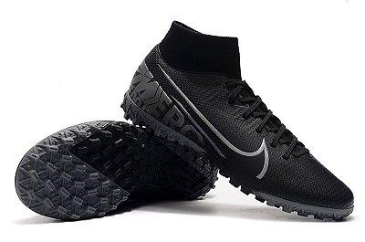 Chuteira Nike Mercurial Superfly VII Club TF Society Preta e Cinza Cano Alto