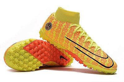 Chuteira Nike Mercurial Superfly VII Club TF Society Amarela e Laranja Cano Alto