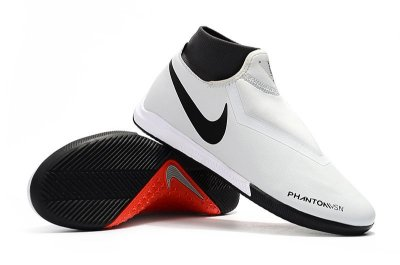 Chuteira Futsal Nike React Phantom VSN Pro DF IC Branca e Laranja (Cano Alto) FRETE GRÁTIS