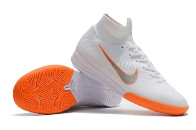 Chuteira Futsal Nike Mercurial SuperflyX6 Elite IC Branca e Laranja (cano alto) FRETE GRÁTIS