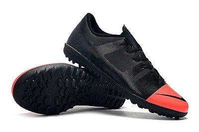 Chuteira Nike Mercurial VaporX 12 Club TF Greenspeed Preta e Rosa FRETE GRÁTIS