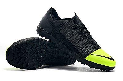 Chuteira Nike Mercurial VaporX 12 Club TF Greenspeed Preta e Verde Florescente FRETE GRÁTIS