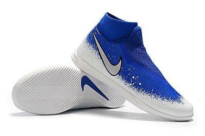 Chuteira Futsal Nike Phantom Vison Academy DF IC Azul e Branco (Cano Alto) FRETE GRÁTIS