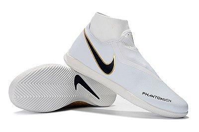Chuteira Futsal Nike Phantom Vison Academy DF IC Branca e Dourada (Cano Alto)