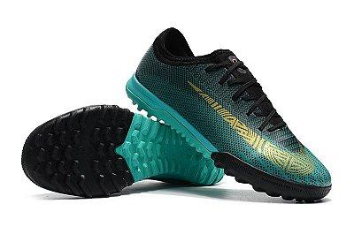 Chuteira Nike Mercurial VaporX VII Pro IC Society Cristiano Ronaldo Verde Marinho FRETE GRÁTIS
