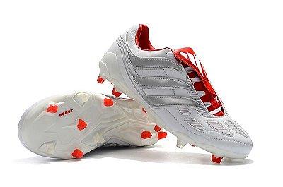 Chuteira Campo Adidas Predator Beckham Precision FG Branca e Vermelho