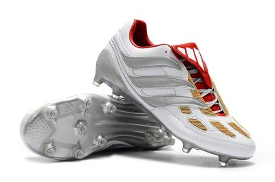Chuteira Campo Adidas Predator Beckham Precision FG Branca Vermelho e Prata FRETE GRÁTIS