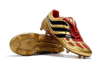 Chuteira Campo Adidas Predator Beckham Precision FG Preta Dourada e Vermelho