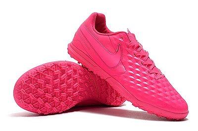 Chuteira Society Nike Tiempo Legend VIII Club TF Rosa
