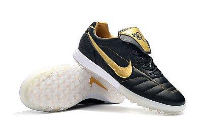 Chuteira Society Nike Tiempo Legend 7 R10 Elite TF Preta e Dourada