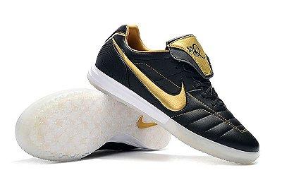 Chuteira Futsal Nike Tiempo Legend 7 R10 Elite TF Preta e Dourada