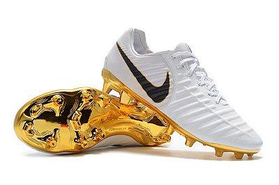 Chuteira Nike Tiempo Legend 7 Campo Branca e Dourado FRETE GRÁTIS