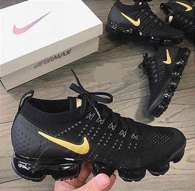 Tênis Nike Vapormax 2.0 Preto e Dourado Pronta Entrega