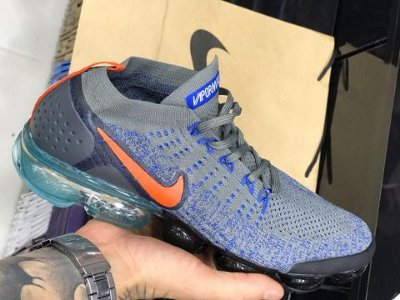 Tênis Nike Vapormax 2.0 Azul Laranja e Cinza