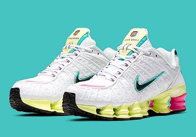 Tenis Nike Shox Tl 12 Molas Branco Amarelo e Rosa PRONTA ENTREGA